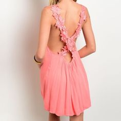 New coral dress with floral crochet back 100% cotton  MODEL IS WEARING THE EXACT PRODUCT   This retailed at Nasty Gal for $60 Tea n Cup Dresses Mini
