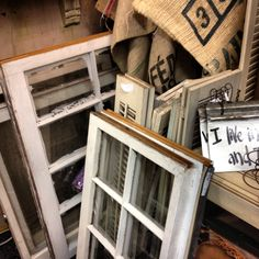 I found this great selection of old windows at Serendipity Market! Great for projects! At 917 E Danforth in Edmond, OK