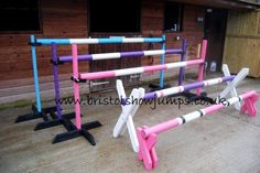 HORSE SHOW JUMPS TRAINING STAND SET with KEYHOLE TRACKS in Sporting Goods, Equestrian, Horse Wear & Equipment | eBay