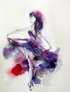 Ballerina Original Watercolor Painting Dance by CanotStop on Etsy, $92.00