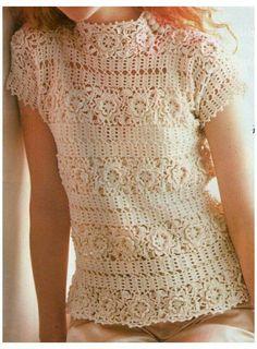 Crochet Shoes Pattern, Crochet Yoke, Crochet Skirts, Crochet Cardigan, Irish Crochet, Crochet Clothes, Crochet Stitches, Lace Sweater, Lace Tunic
