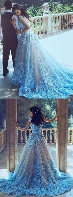Sexy A-Line Wedding Dresses,Blue Wedding Dresses, Sleeveless Tulle Wedding Dress With Chapel Train,Princess Wedding Dress,Wedding Dress