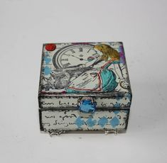 Alice In Wonderland Jewellery Box, Hand Painted Trinket Box, Keepsake Box by GingersAlteredBits on Etsy