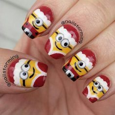 Despicable me Christmas nails??? Yes please!