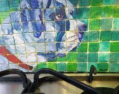 Green and blue English Bulldog handpainted on glass tiles Colourful animal art wildlife prints mugs by CarolineSkinnerArt #bulldog #paintedtiles #uniquetiles #kitchensplashback #dogdesign Blue English Bulldogs, Unique Tile, Glass Tiles, Colorful Animals, Hunter Green, Dog Design, Neon Green, Wildlife, Hand Painted