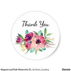 Magenta and Pink Watercolor Floral Thank You Classic Round Sticker - A pretty Thank You sticker to use on party favors, correspondence and more. It features fuchsia, pink and purple watercolor flowers with text that you can personalize as you like. Sold at Oasis_Landing on Zazzle.