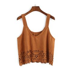 SheIn(sheinside) Straps Suede Pierced Cami Top ($14) ❤ liked on Polyvore featuring tops, crop top, shirts, brown, vintage tank top, vintage crop top, spaghetti strap cami and spaghetti-strap tank tops