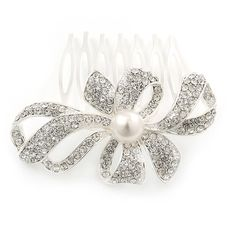 Bridal/ Wedding/ Prom/ Party Rhodium Plated Clear Swarovski Crystal, Synthetic Pearl 'Bow' Hair Comb - 60mm -- Read more  at the image link.