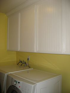 My weekend beadboard wallpaper project/laundry room (pics) - Home Decorating & Design Forum - GardenWeb Laminate Cabinets, Refacing Cabinets, Laminate Furniture, Cupboards, My Home Design, House Design, Room Wallpaper, Home Hacks, Home Remodeling