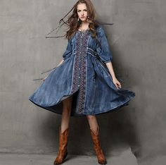 Maxi Long vintage embrodiry denim Dress 102cm Autumn spring Women fashion Plus Size boho women Vestido casual LONG Dress US $50.15-51.85 /piece To Buy Or See Another Product Click On This Link  http://goo.gl/IdJFhm