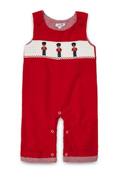 "NEW Aurora Royal Baby Boys "" London Guards"" Red Corduroy Embroidered Dungarees"