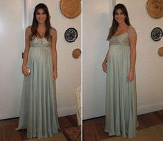 New Empire Chiffon Beaded Formal pregnancy Evening dresses Maternity Prom Gown