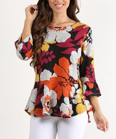 Red Floral Peplum Top