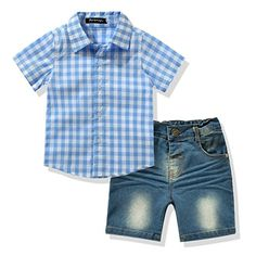 Toddler Boy's Clothes Short Sleeved Plaid Woven Shirt With Denim Shorts Sets >>> Check out @