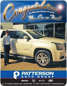 Congratulations to Ashton Gustafson on his new 2015 GMC White Diamond Yukon Xl SLT! - From Steve Garner at Patterson Auto Center