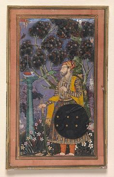 """Sultan Muhammad 'Adil Shah Artist: Attributed to """"Bodleian painter"""" Object Name: Album leaf, illustrated Date: ca. 1635 Geography: India, Deccan, Bijapur Culture: Islamic Medium: Ink, opaque watercolor, and gold on paper Dimensions: Image: 7 1/2 × 4 5/8 in. (19.1 × 11.7 cm"""
