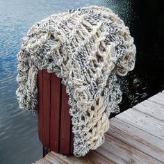 Super Chunky Knit Open Weave Throw Afghan by theyarrn on Etsy