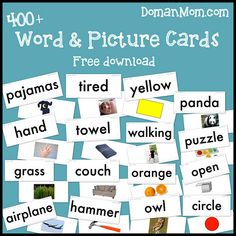 400+ Free Word & Picture Cards This resource has been a long time in the making, and I'm so thrilled that it's finally finished!  Inspired by Glenn Doman's How to Teach Your Baby to Read, these printable word and picture cards contain ten new words each week to introduce to your baby from the time they are ten weeks old all the way up until their first birthday. That's a total of 420 words!  The words I chose include family names, items of clothing, body parts, foods, household items, toys.