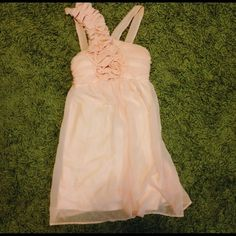 Pink Chiffon Floral Appliqué Homecoming Dress Also known as Lulus I Pink I Can Dress! Was worn once for a wedding. Size is small and third picture is of a small stain at the back bottom left of the dress. I'm aware of the stain and have taken that into account of the price. Lulu's Dresses