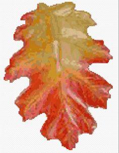 Cross Stitch | Red Oak Leaf xstitch Chart | Design