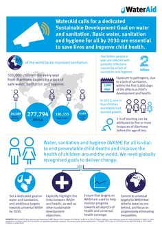 WaterAid infographic - why we need a Sustainable Development Goal for water and sanitation. World Toilet Day, Water Issues, Water And Sanitation, Thing 1, Stem Challenges, Water Conservation, Sustainable Development, Save Life, People Of The World