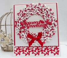 Christmas Wreath Card using Tonic Studios New Intrica Wild Vine Circle Dies and Border Punch Tonic Christmas Cards, Xmas Cards, Christmas Projects, Christmas Wreaths, Tonic Cards, Studio Cards, Step Cards, All Things Christmas, Simple Christmas