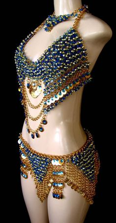 golden chains w/ sapphire beads bellydance costume- side view