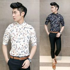2014 Brand New Design Shirt Swallow Print Slim Korean Stylish ...
