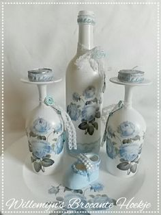 Decoupage set with wine glasses and bottle ©Willemijn