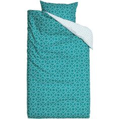 H&M Duvet cover set (€28) ❤ liked on Polyvore featuring home, bed & bath, bedding, duvet covers, dark turquoise, patterned bedding, turquoise bedding, h&m and turquoise pillow cases