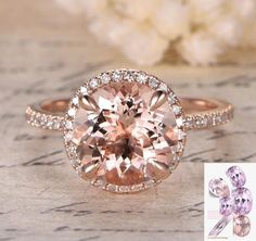 Round Morganite Engagement Ring Pave Diamond HALO 14K Rose Gold 9mm