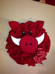 18 inch red burlap razorback wreath by joansburlapboutique on Etsy, $35.00