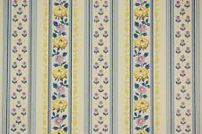 1970's Retro Vintage Wallpaper Yellow and Purple Flowers on Light Yellow