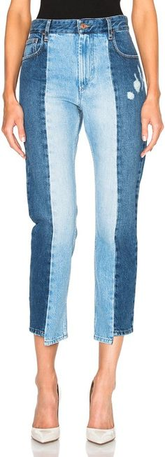 Shop for Isabel Marant Etoile Clancy Patchwork Denim in Light Blue at FWRD. Diy Jeans, Diy Ripped Jeans, Torn Jeans, Blue Denim Jeans, Remake Clothes, How To Make Clothes, Two Toned Jeans, Altered Couture, Denim Patchwork