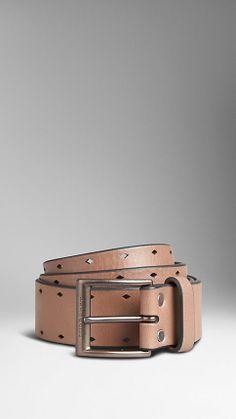 Punch-Detail Leather Belt | Burberry - Dark Chino
