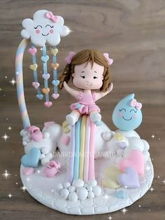 1 million+ Stunning Free Images to Use Anywhere Fondant Toppers, Fondant Cakes, Polymer Clay Disney, Cloud Party, Baby Mold, Baby Birthday Cakes, Garden Birthday, Pasta Flexible, Girl Cakes