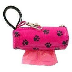 Doggie Duffle Poop Bag - Pink w/Black Paws