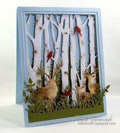 Birch Trees and Deer Scene by kittie747 - Cards and Paper Crafts at Splitcoaststampers