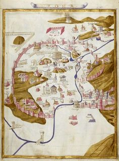 """""""Map of Rome,"""" miniature comes from the 'Ptolemy's Geography' (1470), the Bibliothèque nationale de France, Paris."""