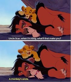I like Scar.. except when he kills his brother and is mean to all the other lions