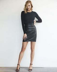 Karlie Kloss High Waisted (Minus The) Leather Mini Skirt for Express 2017 Lookbook