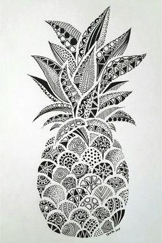 Drawings – Zentangle art – Doodle art – Pineapple art – Doodle drawings – Art drawings – The p Doodle Art Drawing, Zentangle Drawings, Art Drawings Sketches, Drawing Drawing, Drawing Tips, Easy Drawings, Flower Drawings, Doodles Zentangles, Zentangle Art Ideas