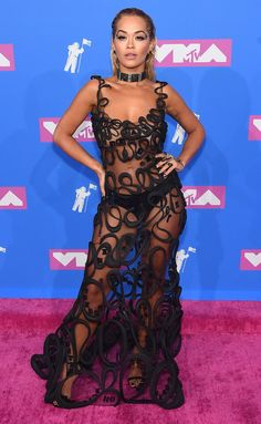 "Rita Ora from MTV Video Music Awards Red Carpet Fashion The Best Dance video nominee celebrates the success of her ""Lonely Together"" collaboration with Avicii. She steps out wearing Fleur du Mal. Mtv Video Music Award, Music Awards, Rita Ora, Sexy Dresses, Nice Dresses, Mtv Videos, Nude Dress, Dress Black, T Shirt Original"