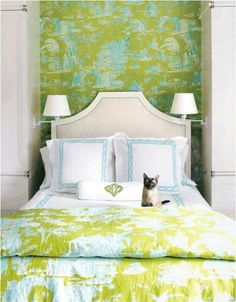 Love this modern toile. Would be so cute in a girl's bedroom