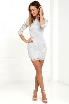 You won't just be memorable ... you'll be unforgettable in the Make an Impression Light Grey Lace Dress! Lovely eyelash lace overlay tops a light grey knit lining, creating a bateau neckline, darted bodice, and sheer, three-quarter sleeves. Bodycon skirt ends with a sheer hem. Hidden back zipper/hook clasp.