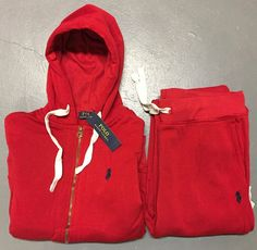 New Ralph Lauren Polo Sweat Suit Complete Suit Full Zip Hoodie Draw String Pants Cute Lazy Outfits, Swag Outfits For Girls, Chill Outfits, Sporty Outfits, Teen Fashion Outfits, Dope Outfits, Xl Fashion, Polo Jogging Suits, Polo Sweat Suits