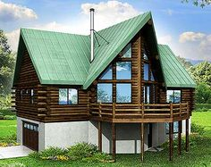 Rustic A-Frame House Plan 72771DA  over 1,500 sq. ft. including the loft overlooking the vaulted great room