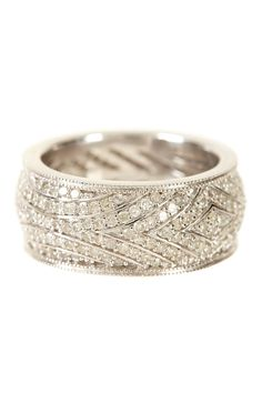 pave white diamond deco ring band