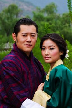 El rey de Bután, Jigme Khesar Namgyel Wangchuck, y su prometida, Jetsun Pema