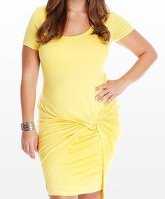 New Plus Size Yellow Tie Knot Short Sleeve Bodycon Dress Size 3X #FabulousDressedBoutique #StretchBodycon #Casual